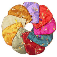Wholesale Unique Embroidered Drawstring Small Wedding Party Favor Gift bags Silk Fabric packaging bags mix color