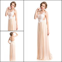 Cheap Wow!! Sheer Backless Long Prom Dresses Top Lace Chiffon Skirts V Neck Sleeveless Puffy Cut Out Floor Length Sexy Evening Celebrity Dresses