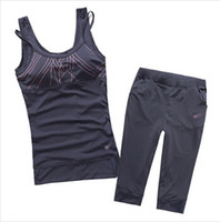 yoga - Woman sports set spaghetti strap vest capris running fitness sports set yoga