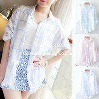 Cheap Linen Plaid Camisas Blusas Femininas Dudalina Women Blouses Shirts Ladies Blouse Women Clothing Long Sleeve Tops For Women 2014