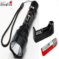 Wholesale Super Bright flashlight UltraFire C8 Lm CREE XM L T6 LED mode Waterproof Flashlight x Mah Rechargeable Battery Charger