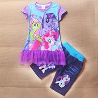 wholesale blue jeans - My Little Pony girls Suits lace T shirt Jeans Suits Kids Summer Purple Blue Short Sleeved Suit Children Fashion Suits C001