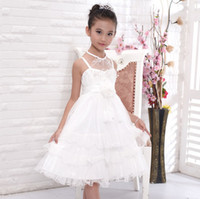 Wholesale Sleveless Western Dress Gilrs Formal Full Wedding Dresses Girl Girl s Party Princess Dressy Childs Evening Wear White EMS DHL Free J1786