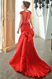 Wholesale Real images Chinese Dresses Folds Bowknot Red Evening Dress Mermaid Bateau Lace sheer wedding dress Satin Rhinestone Prom Party Gowns