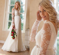 plus size wedding dresses with sleeves - 2015 Lace Maternity Wedding Dress With Scoop Neck Illusion Long Sleeves Backless Plus Size Bridal Gown With Crystal Sash Fall Style