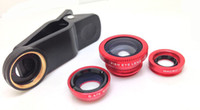 Wholesale Magnetic in Wide Angle Macro lens Fish Eye camera Kit Set for iPhone for HTC for ipad for Samsung android Mobile phone