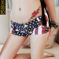Wholesale America Leiya new summer women s European and American flag denim shorts tide nightclub ladies large size thin trade