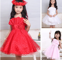 Wholesale Children Girls Evening Wear Western Suspenders Girl Princess Dress Girl s Tutu Lace Polk Dot Pleated Wedding Dresses Party Dressy J1787