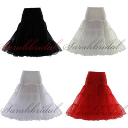 Wholesale 12018 Red Black Ivory Black Tea Length Short Knee Swing Skirt Prom Slips Crinoline Bridal Petticoat Underskirt Without Target Drop Shipping