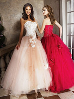Wholesale 2014 Strapless Ball Gown Quinceanera Dresses Beads Embriodery Flower Champagne Fuchsia Tulle Party Gowns Custom Made Q1
