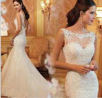 Wholesale New Arrival Wedding Dresses Mermaid Weeing Dress Bateau Bridal Dress Sweatheart In Stock TB
