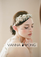 Wholesale New Design Handmade Bride Golden Crystal Pearls Flower Hairband Wedding Hair Accessories Luxury Tiara Bridal Headband
