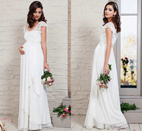 maternity wedding dresses - 2015 Modest Maternity Wedding Dress New Arrival Scoop Cap Sleeves Ruched Chffon Lace Plus Size Garden Bridal Gown Fall Style On Sale