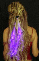 Wholesale 100pcs Hot Sale LED Hair Flash Braid Hair Decoration Fiber Luminous Braid for Halloween Christmas Party Holiday Colorful Light Hair M1634
