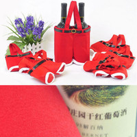 Wholesale New Year Candy Wine Red Bags Santa Claus Suspender Trousers Xmas Holiday Gift Christmas Party Supplies Wool Fabric Free DHL Factory Price