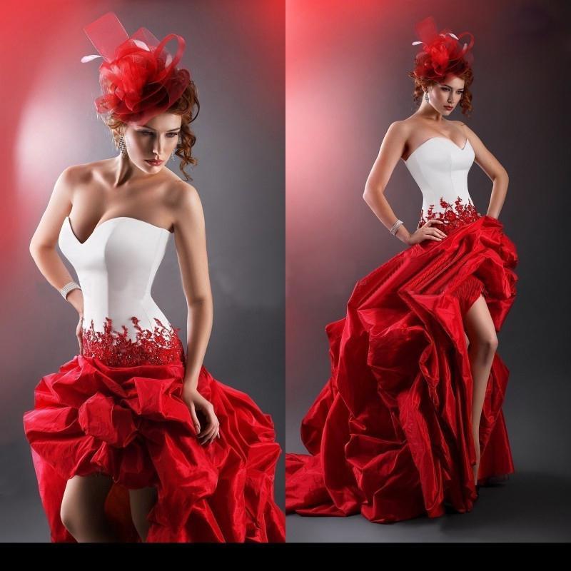 Images taffeta 2014 fashion red and white christmas wedding dresses