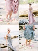 Wholesale Light Blue Beach Theme Wedding Dress A Line Bridesmaid Dresses with One Shoulder High Side Slit Chiffon Floor Length Long Wedding Gowns