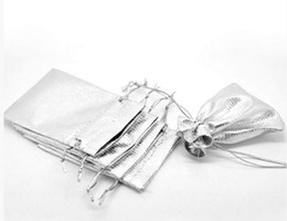 Wholesale - Free Ship MIC 100pcs Silver Plated Satin Fabric Gift Bags With Drawstring 12x9cm Jewelry Pouches Bags