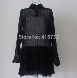 Free Shipping 2015 Lace Fashion Black Chiffon Long Sleeve T-shirt For Women Sexy Perspective Long Design Turn Down Collar black Sheer Shirts