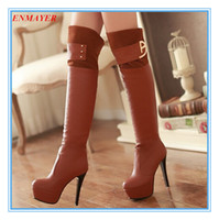 Cheap ENMAYER Nightclubs new Round Toe Thin Heels 12cm fashion Over-the-Knee boots for women Sexy Winter boots shoes platformlongshoes