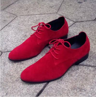 Wholesale Last Pair US Size Red Men s Oxford Shoes Fashion Suede PU Leather Lace Up Wedding Dress Shoes