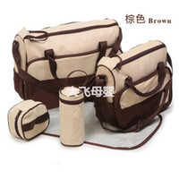 Wholesale 2014 Cheap Brown Tote Diaper Durable Bags Best Designer Diaper Bags Polka Dot SET Cheap and Top Quality Diaper Bags for Baby on Sale