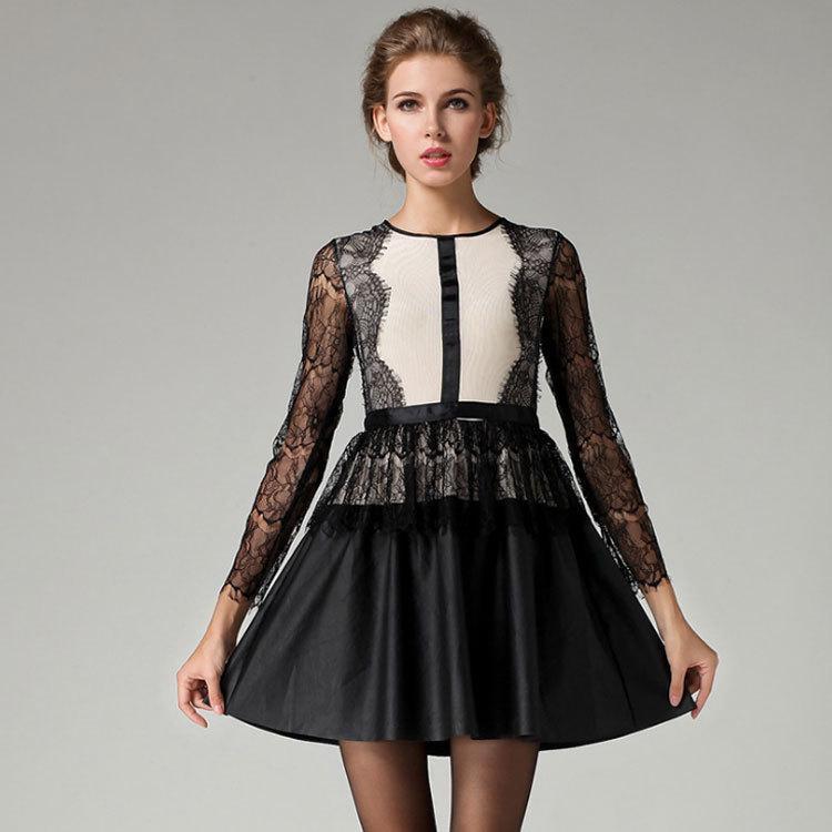 Black leather dresses cheap