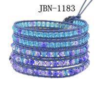 Wholesale new bracelet Beautiful stone Leather winding Bracelet layer Wrap charm Bracelet mm crystal and glass beads weaving JBN