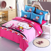 Wholesale Home textile New design Hello Kitty Love Travel bedding set luxury include Duvet Cover Bed sheet Pillowcase King size