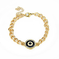 Wholesale Elegant Rhinestone With Thick Gold Color Alloy And Rhinestone Chain Adjustable Bracelets And Bangles