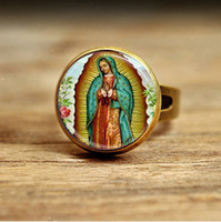 African african religious art - RC73 Adjustable Ring Our Lady of Guadalupe Ring Virgin Mary Religious Catholic Glass Bezel Art round glass ring knuckle ring adjustable ring