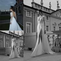 Cheap SSJ 2015 Long Sleeves Berta Bridal Gowns Beach V-Neck Backless Split Side Chiffon Lace A Line Wedding Dresses ru_dress D2417
