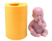 Cheap F0582 Fondant Silicone Mold Baby 3D Doll Cake Decorating Mould Smaller Cupcake 5X4X6cm