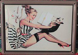 Wholesale 2014 fashion cm lovely cute beauty blonde girl tin Sign Coffee Shop Bar Restaurant Wall Art decoration Bar Metal Paintings