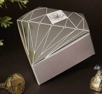 Wholesale 50pcs Silver Diamond shaped Candy Box Paper Gift Jewelry DIY Boxes Wedding favors