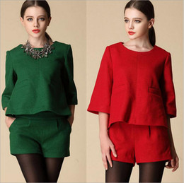 Wholesale 2014 fall new woman suit blouse hot pants round collar Cloth fabric woman clothes