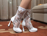 Cheap High Quality Gauze Short Wedding Boots High Heeled Black Or White Platforms Prom Dance Shoes Exquisite Sequined And Bead Embellished