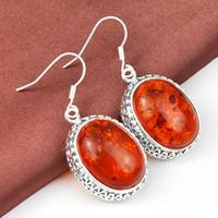 amber drop earrings - New Arrive Hot Fashion Antique Oval Amber Gemstone for women silver charm gemstone Drop earrings prs CE0512