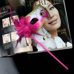 Wholesale 20pcs Masquerade Party on stick Masks Flower Side Venetian Masks Halloween on stick Handheld masks party supplies