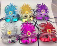 halloween masks - In Stock Mix Order Colorful Half Faces Eye Indian Masks with Sequin and Blink Crystal Masquerade Mardi Gras Venetian Halloween Costume Mask