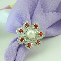 Wholesale Red Rhinestone Flowers Napkin Rings Hotel Wedding Supplies Table Decoration Accessories R036