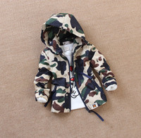 Wholesale Boy s Waterproof Fabric Outwear Fashion Camouflage Style Hooded clothes Children boy s Overcoat korean Prevent UV Coat L0108