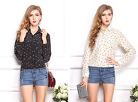 Cheap 2014 New Women Fashion Plus Size Blouse Chiffon Shirts Boat Anchor Print Tops Full Sleeve Clothes Brand Summer Wear CL2017