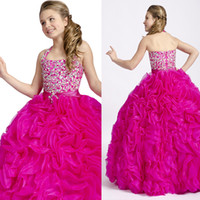 Wholesale Beautiful Girls Pageant Dresses Ball Gown Flower Girl Dresses Halter Neck Top Organza Rhinestones Flowers Christmas Dresses for girls