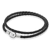 genuine jewelry - Double Wrap Genuine Leather Bracelet Fashion European braided Wristband Cuff Colors fit murano charm bead bracelet bangle jewelry