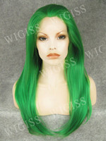 green synthetic - Green quot Glamorous Front Lace Female Wigs Charming Long Natural Straight Kanekalon Fiber Synthetic Wigs H3002FL26Z