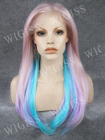 ombre lace front wig - Ombre Color quot Glamorous Front Lace Female Wigs Charming Long Natural Straight Kanekalon Fiber Synthetic Wigs H3002FL29C