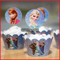 Wholesale Frozen Party Decorations Elsa Anna Princess Kristoff Cupcake Wrappers Kids Birthday Supplies Party Favors Cup Cake Toppers Picks