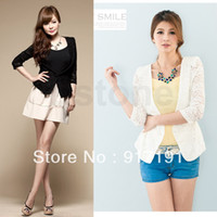 Cheap 1PC 3 4 Sleeve Collarless Floral Lace See-through One Button Slim Coat Short Jacket
