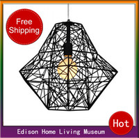 Wholesale High quality Modern bref diamond lamps wrought iron bird cage pendant light with e27lamp holder base apply in living roon